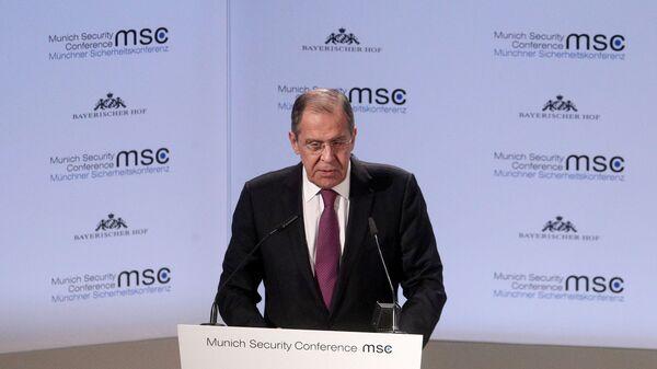 Министр иностранных дел РФ Сергей Лавров во время выступления в рамках Мюнхенской конференции по безопасности. 16 февраля 2019