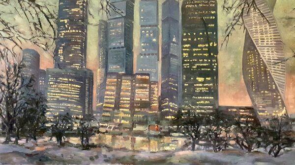 Картина с выставки В городе М... Зима