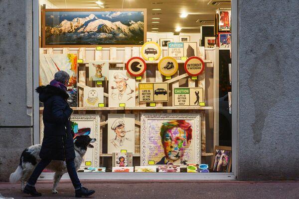 Витрина магазина города Анси