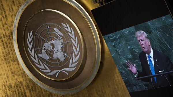 Президент США Дональд Трамп выступает на ежегодной Генеральной Ассамблее ООН в Нью-Йорке