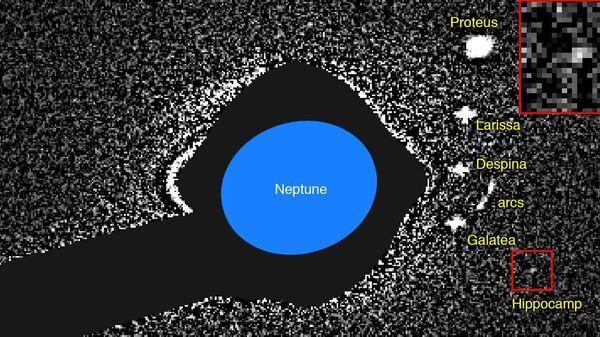 Новая луна Нептуна, Гиппокамп, на склеенных фотографиях Хаббла
