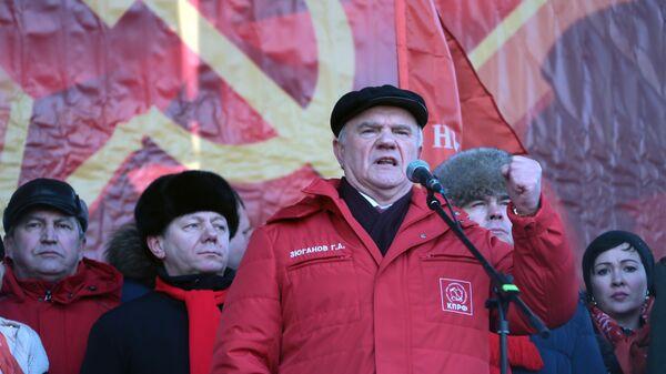 Председатель КПРФ Геннадий Зюганов на митинге посвященном 101-й годовщине Рабоче-крестьянской Красной армии и Военно-морского флота. 23 февраля 2019