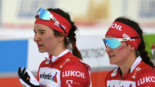 Слева направо: Наталья Непряева (Россия) и Юлия Белорукова (Россия)
