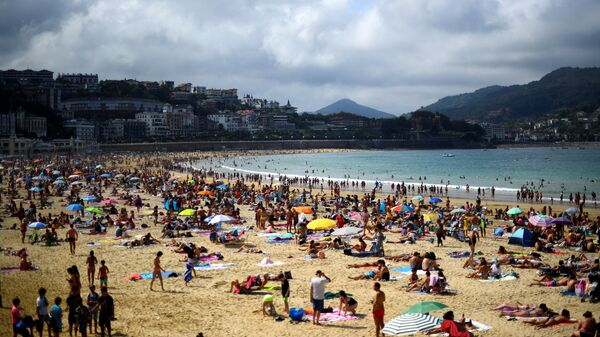 Пляж la concha в Испании