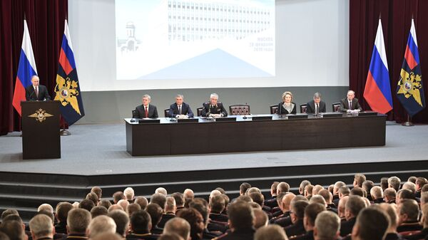 Президент РФ Владимир Путин выступает на ежегодном расширенном заседании коллегии МВД РФ. 28 февраля 2019