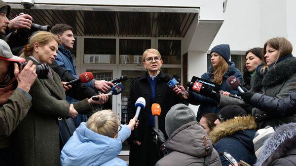 Кандидат в президенты Украины, лидер всеукраинского объединения Батькивщина Юлия Тимошенко на пресс-конференции в Киеве. 1 марта 2019