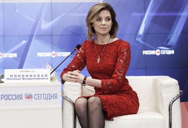 Наталья Поклонская на пресс-конференции в Симферополе по случаю годовщины воссоединения Крыма с Россией