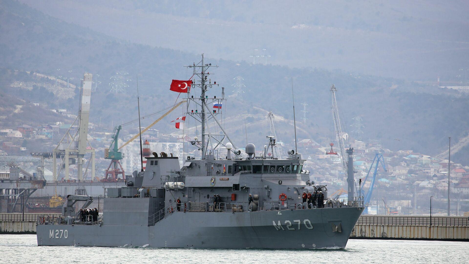 Минный тральщик Акчай ВМС Турции прибывает в порт Новороссийска - РИА Новости, 1920, 05.09.2020