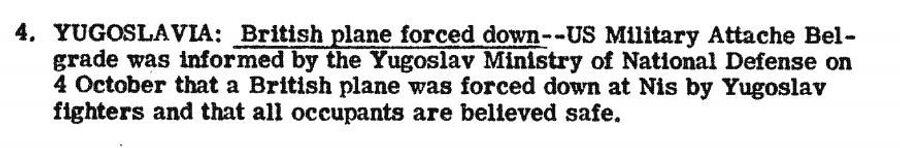 Фрагмент сводки разведки США с сообщением о том, что Югославия сбила британский самолет