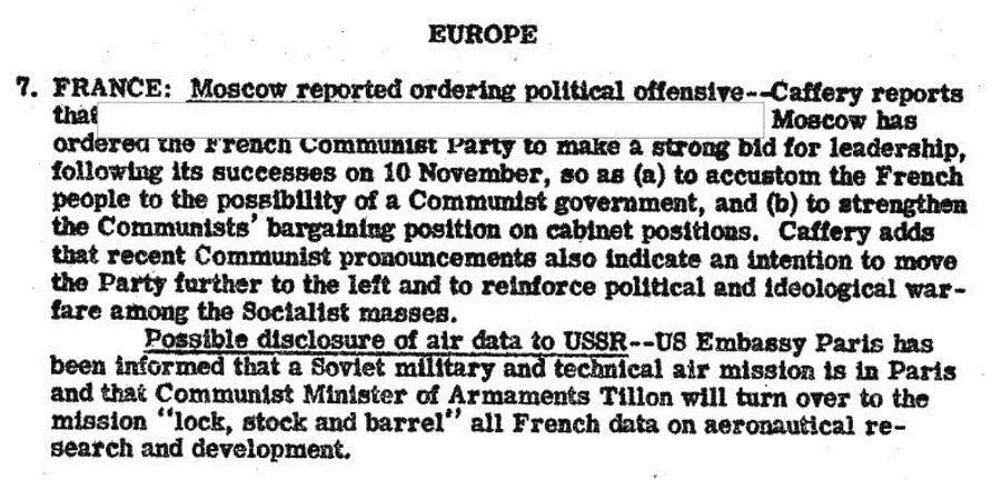 Фрагмент сводки разведки США с сообщением о политике французских коммунистов