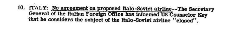 Фрагмент сводки разведки США с донесением по провале переговоров о создании итало-советской авиакомпании