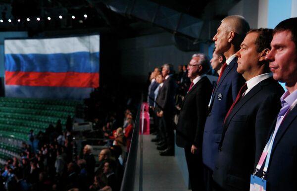 Председатель правительства РФ Дмитрий Медведев на церемонии закрытия XXIX Всемирной зимней универсиады 2019 года Красноярске