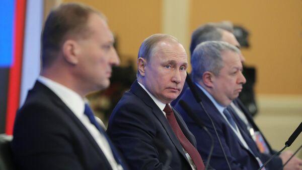 Президент РФ В. Путин принял участие в работе съезда РСПП