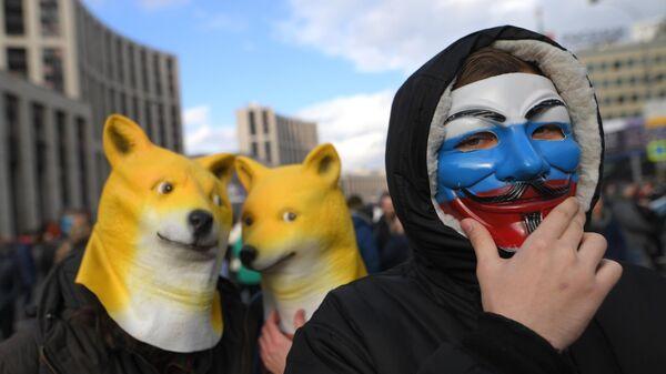 Участники согласованного митинга против действий властей в области регулирования интернет-отрасли. 10 марта 2019
