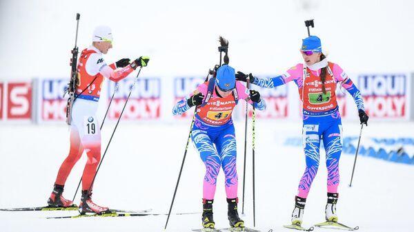 Слева направо: Магдалена Гвиздонь (Польша), Ульяна Кайшева (Россия) и Светлана Миронова (Россия)