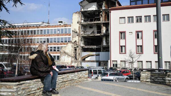 Белград. Здание телецентра с последствиями разрушений бомбежек НАТО