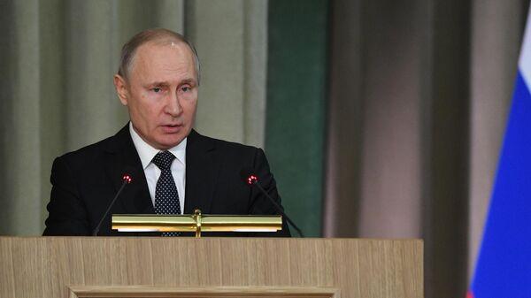 Президент РФ Владимир Путин выступает на расширенном заседании коллегии Генеральной прокуратуры России