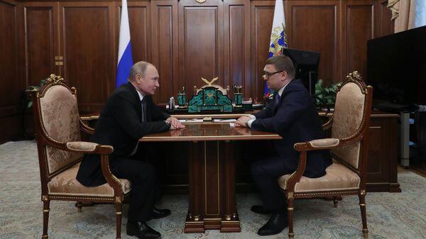 Президент Владимир Путин и временно исполняющий обязанности губернатора Челябинской области Алексей Текслер