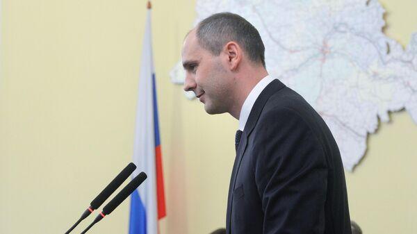 Временно исполняющий обязанности губернатора Оренбургской области Денис Паслер во время официального представления членам областного правительства. 22 марта 2019