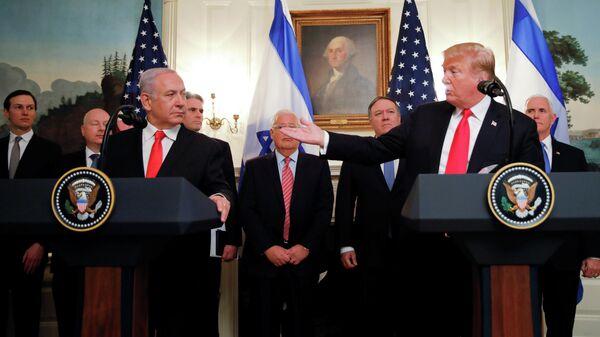 Президент США Дональд Трамп во время встречи с премьер-министром Израиля Биньямином Нетаньяху в Белом доме в Вашингтоне. 25 марта 2019
