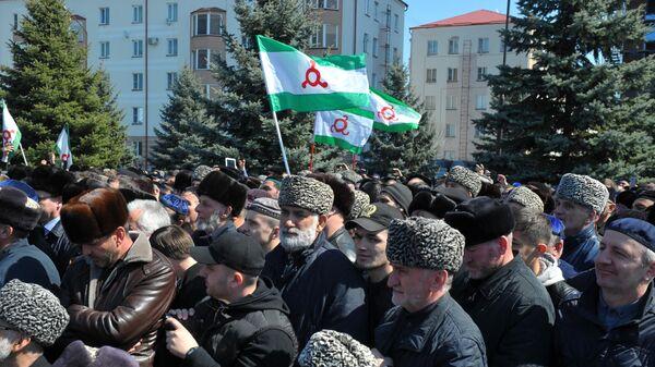 Участники митинга протеста против утверждения проекта закона О референдуме Республики Ингушетия. 26 марта 2019