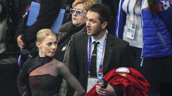 Евгения Тарасова, тренеры Нина Мозер и Максим Траньков (слева направо)