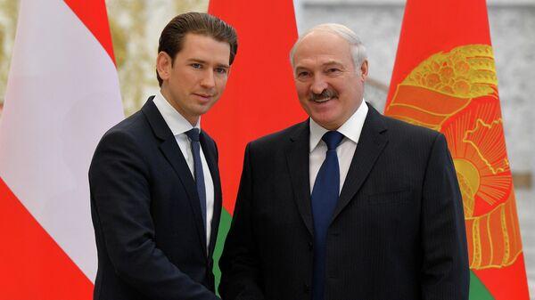 Канцлер Австрии Себастьян Курц и президент Беларуси Александр Лукашенко во время встречи в Минске. 29 марта 2019