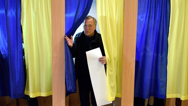 Голосование на выборах президента Украины на одном из избирательных участков Киева