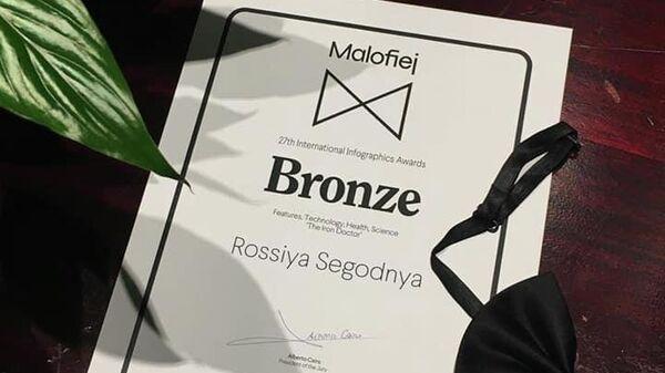 Студия инфографики Дизайн-центра МИА Россия сегодня стала бронзовым призером международного конкурса визуального дизайна Malofiej