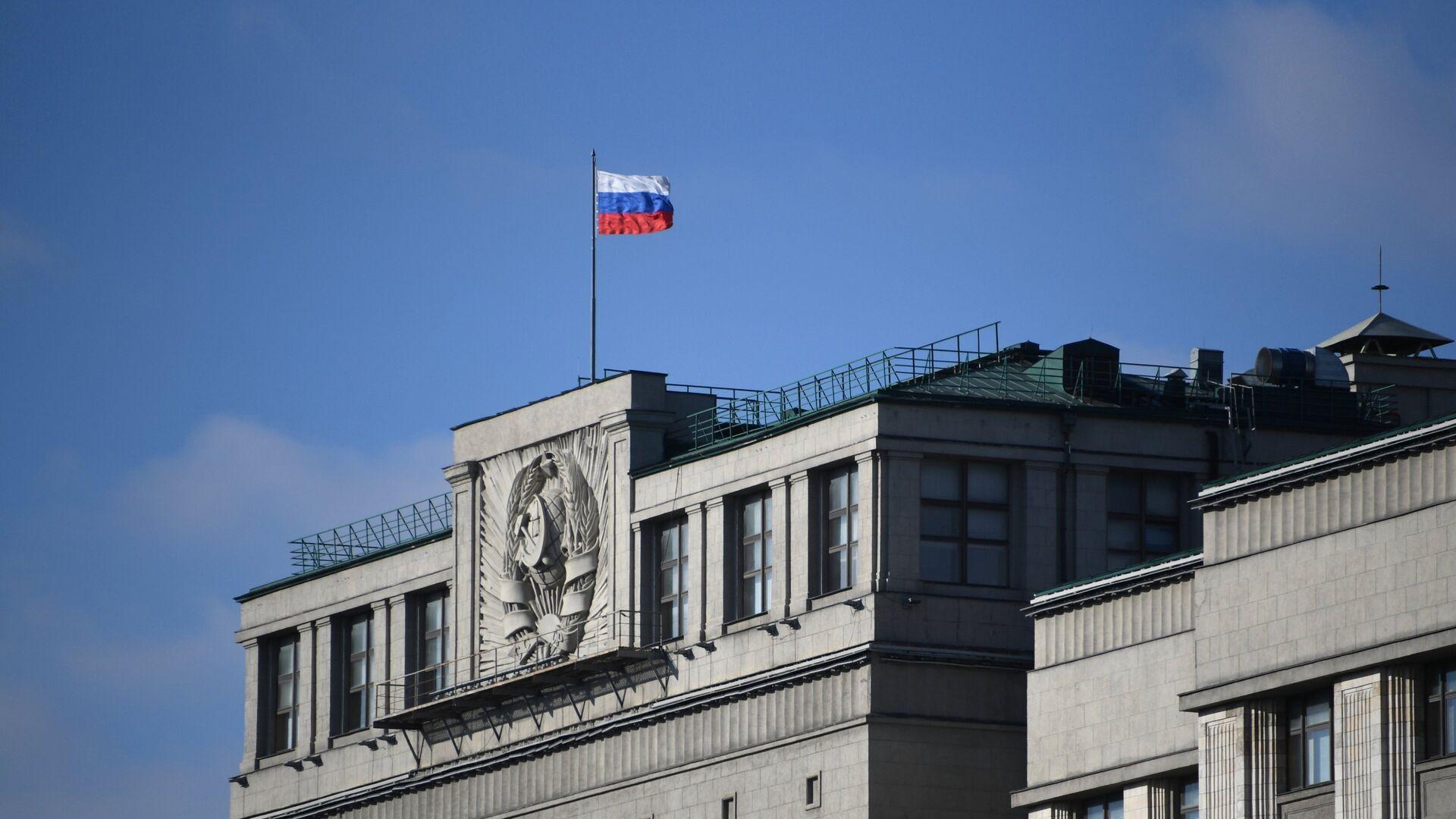 Флаг на здании Государственной Думы РФ. Архивное фото - РИА Новости, 1920, 29.11.2018