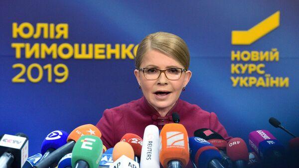 Лидер партии Батькивщина Юлия Тимошенко на пресс-конференции в Киеве