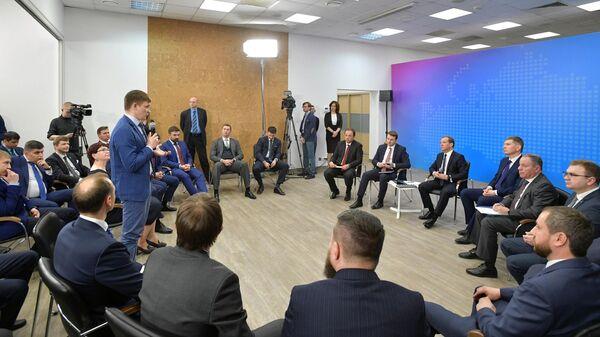 Дмитрий Медведев во время встречи с представителями малого и среднего бизнеса Пермского края на территории технопарка Morion Digital в Перми. 2 апреля 2019