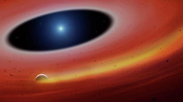 Так художник представил себе железную планету в окрестностях белого карлика