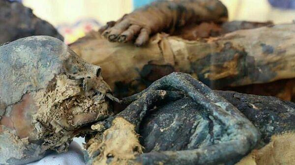 Мумии из найденной гробницы эпохи Птолемеев в городе Ахмим египетской провинции Сохаг