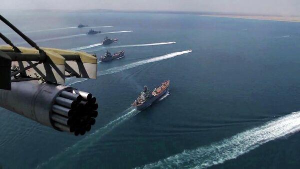 Корабли Черноморского флота и Каспийской флотилии во время учений