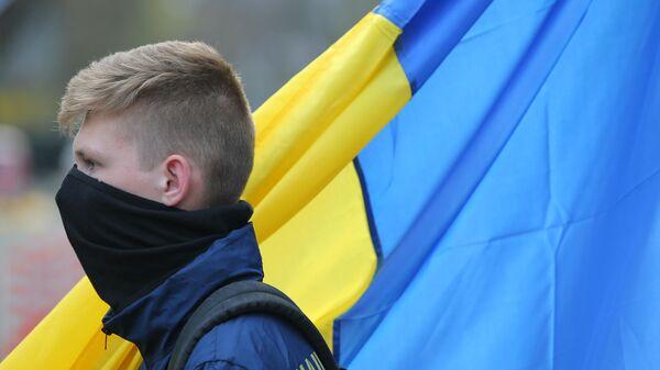 Участник акции националистов в Киеве