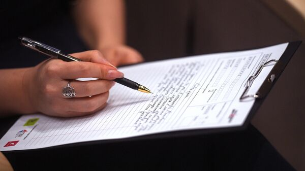 Участница ежегодной образовательной акции по проверке грамотности Тотальный диктант-2019