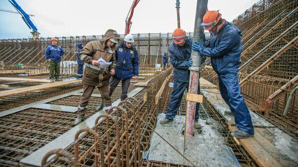 Бетонирование фундаментной плиты реакторного здания энергоблока №2 на площадке станции замещения Курская АЭС-2