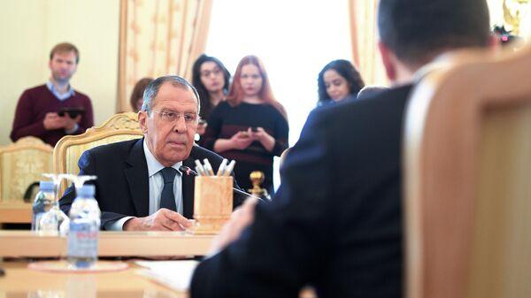 Министр иностранных дел РФ Сергей Лавров во время встречи с министром иностранных дел Республики Сербии Ивицем Дачичем в Москве. 17 апреля 2019