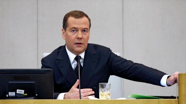 Председатель правительства РФ Дмитрий Медведев после выступления в Государственной Думе РФ с отчётом правительства РФ о результатах деятельности за 2018 года. 17 апреля 2019