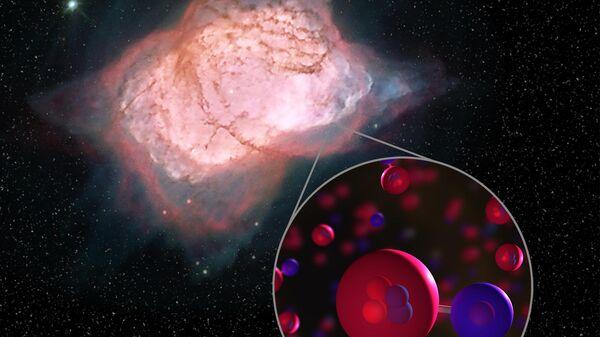 Так художник представил себе молекулы гидрида гелия в туманности NGC 7027