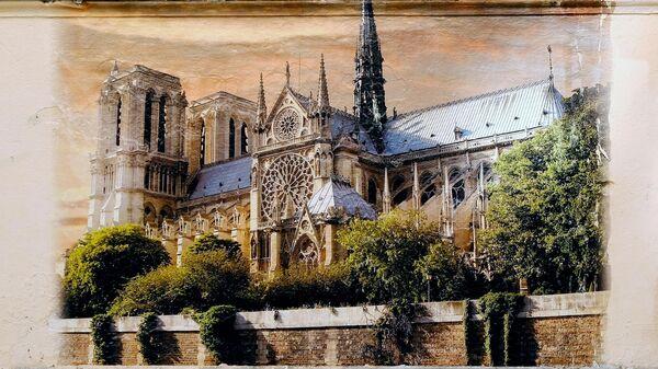 Фреска с изображением собора Парижской Богоматери на стене в переулке Радищева, Санкт-Петербург