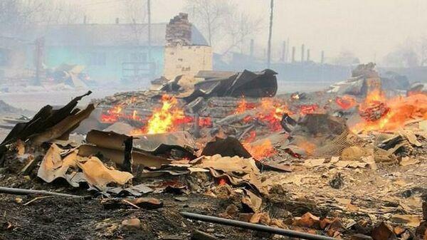 Пожар в селе Унда Забайкальского края