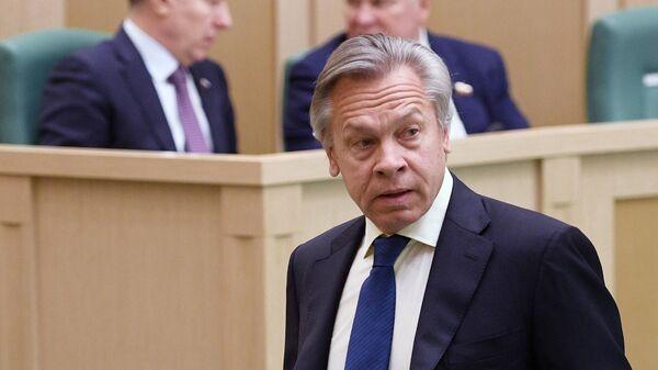Председатель комиссии Совета Федерации РФ по информационной политике Алексей Пушков на заседании Совета Федерации РФ. 22 апреля 2019