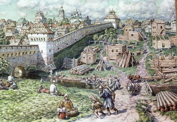 Репродукция картины Лубяной торг на Трубе у стен Белого города художника Аполлинария Васнецова
