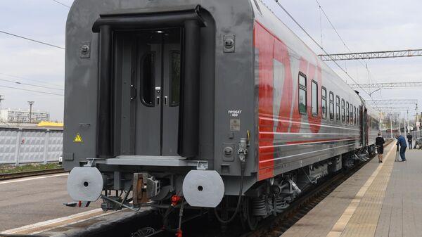 Купейный вагон дальнего следования на Рижском вокзале в Москве