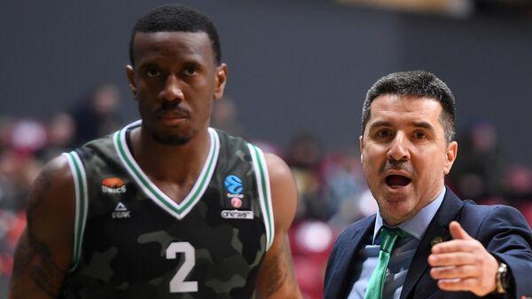 Игрок БК УНИКС Рэймар Морган (слева) и главный тренер БК УНИКС Димитрис Прифтис
