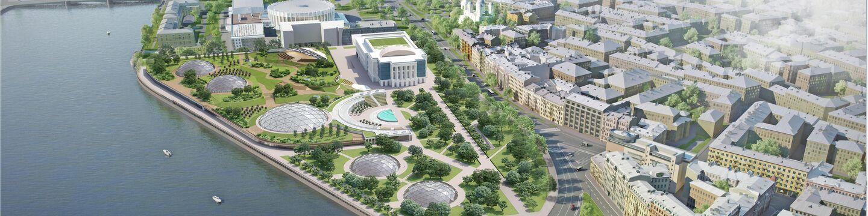 Концепция обустройства парковой зоны вместо судебного квартала на набережной Невы в исторической части Санкт-Петербурга.