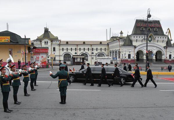 Торжественная церемония встречи лидера КНДР Ким Чен Ына во Владивостоке