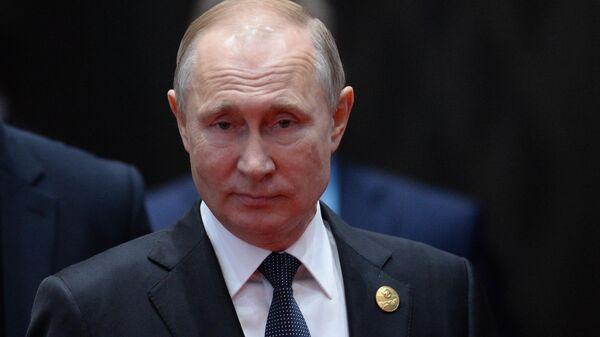Президент РФ Владимир Путин на церемонии совместного фотографирования глав делегаций стран-участников форума международного сотрудничества Один пояс - один путь в Пекине